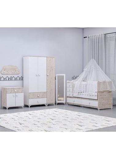 Garaj Home Garaj Home Melina Damla Aynalı Bebek Odası Takımı Yatak Ve Uyku Seti Kombinli/ Uyku Seti Gri Gri